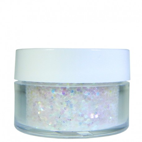 Rainbow White glitter, Large Hex Cut, .5oz