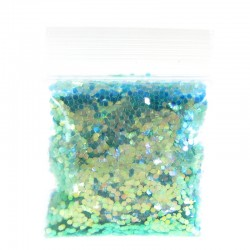 Pastel Green Glitter, Large Hex Cut, Sample