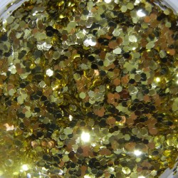 Gold Glitter, Large Hex Cut, Open Jar Zoom