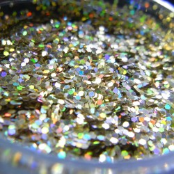 Champagne Gold Prism Glitter, Medium Hex Cut, Open Jar Zoom
