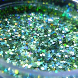 Green Prism Glitter, Medium Hex Cut, Open Jar Zoom