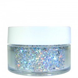 Bright Silver Prism Glitter, Medium Hex Cut, .5oz