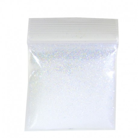 Rainbow White Glitter, Extra-Fine Hex Cut, Sample