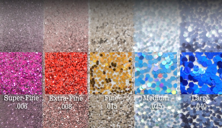 The Most Available Glitter Sizes for all Applications