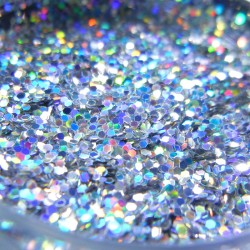 Bright Silver Prism Glitter, Medium Hex Cut, Open Jar Zoom