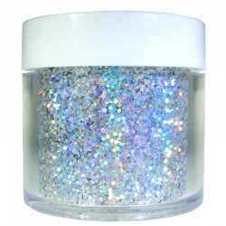 Bright Silver Prism Glitter, Medium Hex Cut, 1oz