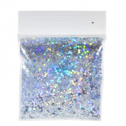Bright Silver Prism Glitter, Medium Hex Cut, Sample