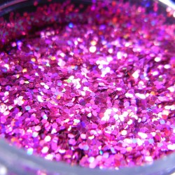 Pink Prism Glitter, Medium Hex Cut, Open Jar Zoom